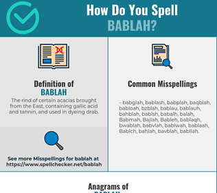Correct spelling for Bablah