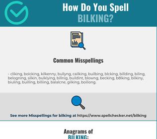 Correct spelling for Bilking