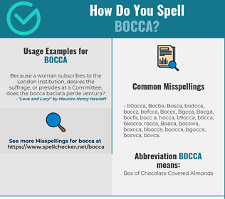 Correct spelling for Bocca