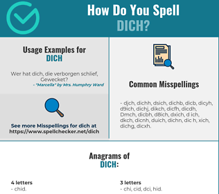 Correct spelling for Dich