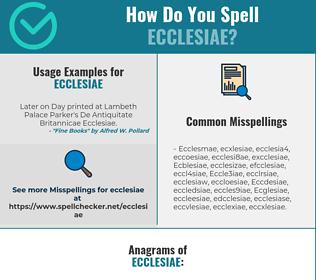 Correct spelling for Ecclesiae