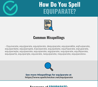 Correct spelling for Equiparate