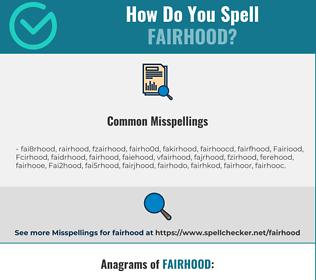 Correct spelling for Fairhood