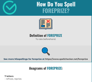 Correct spelling for Foreprize