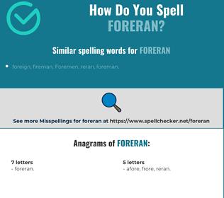 Correct spelling for Foreran