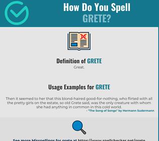 Correct spelling for Grete