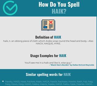 Correct spelling for Haik
