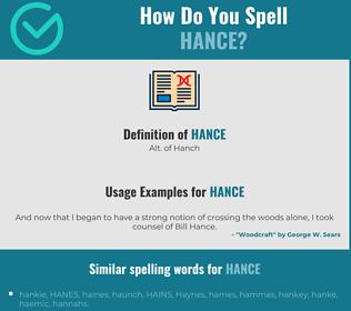 Correct spelling for Hance