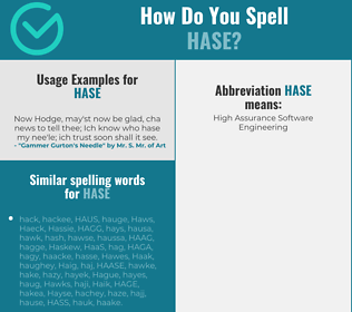 Correct spelling for Hase