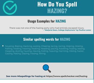 Correct spelling for Hazing