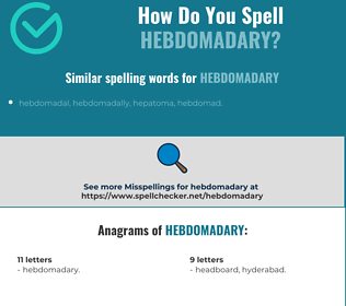 Correct spelling for Hebdomadary