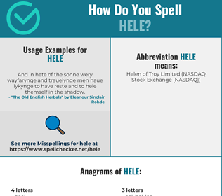 Correct spelling for Hele