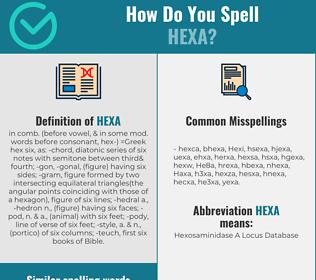 Correct spelling for Hexa