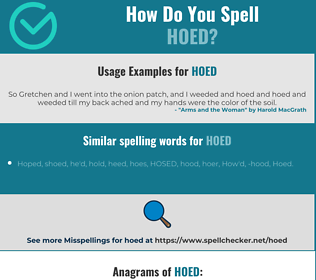 Correct spelling for Hoed