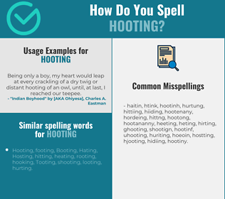Correct spelling for Hooting