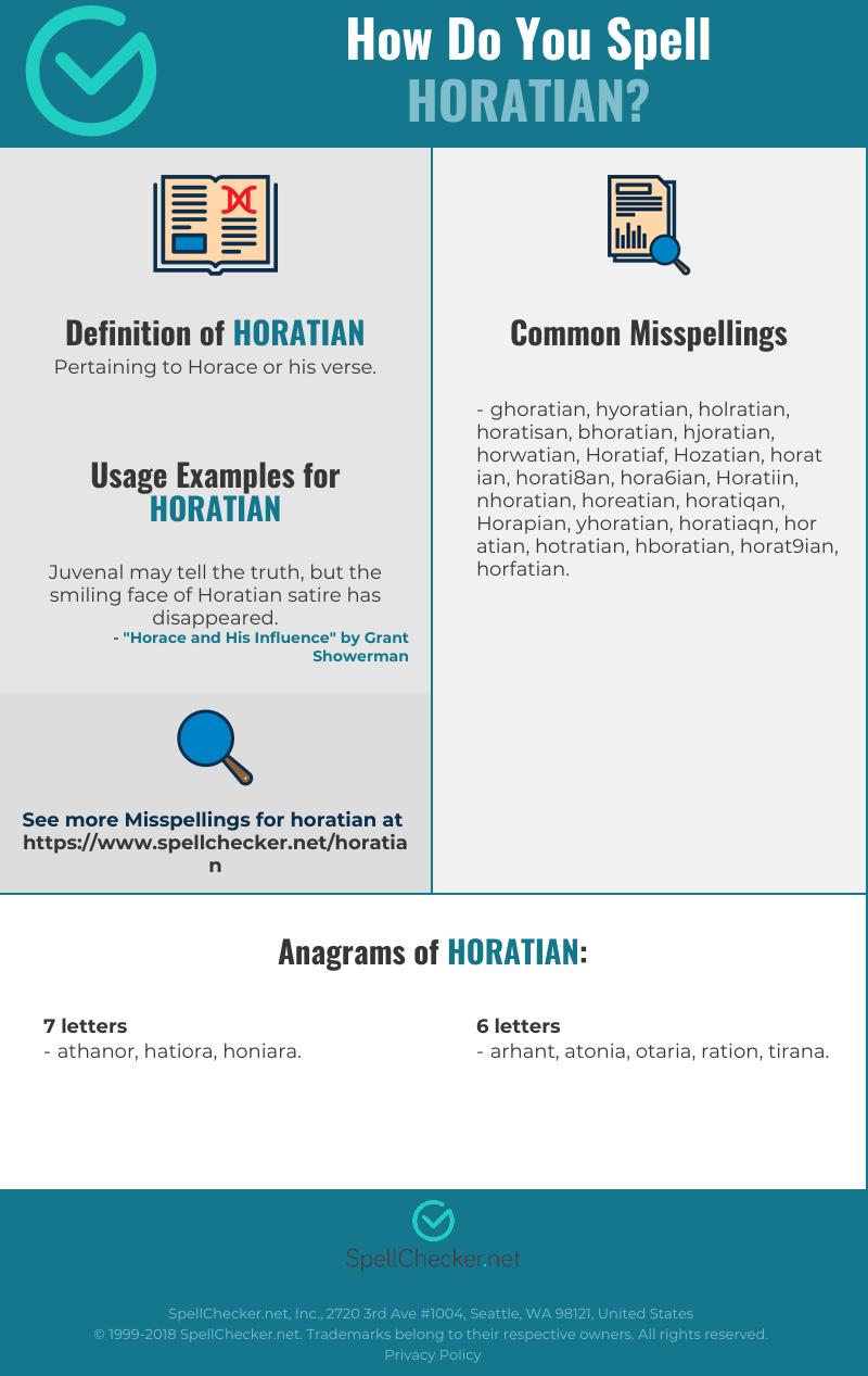 Correct Spelling For Horatian Infographic Spellchecker Net