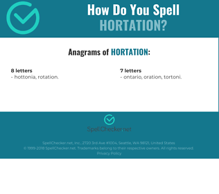 Correct spelling for Hortation