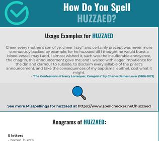 Correct spelling for Huzzaed