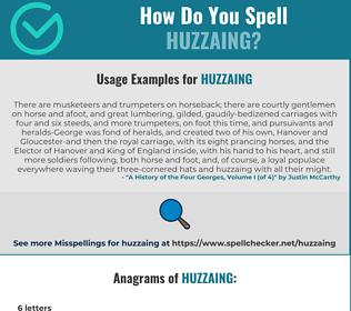 Correct spelling for Huzzaing