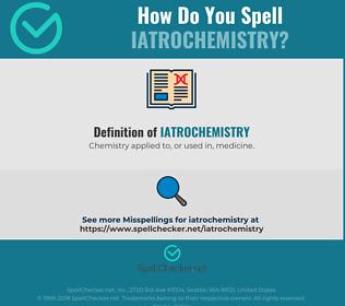 Correct spelling for Iatrochemistry