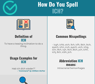 Correct spelling for Ich