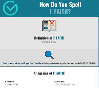 Correct spelling for I' faith