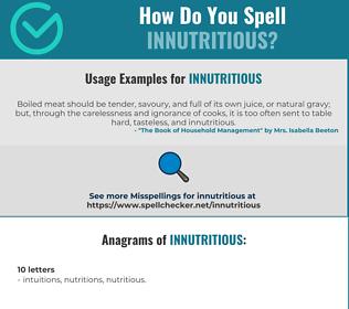 Correct spelling for Innutritious