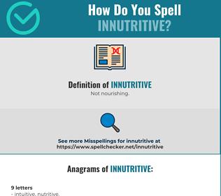 Correct spelling for Innutritive