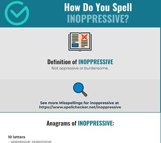 Correct spelling for Inoppressive