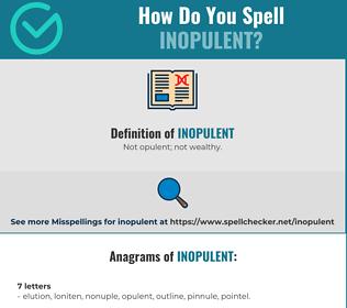 Correct spelling for Inopulent