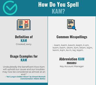 Correct spelling for Kam