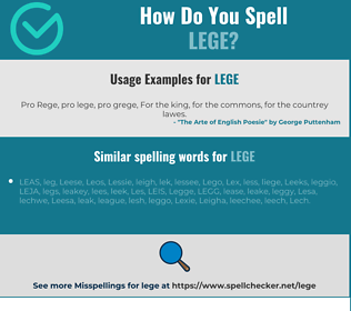 Correct spelling for Lege