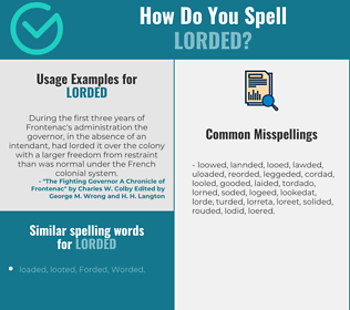 Correct spelling for Lorded