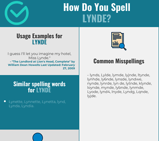 Correct spelling for Lynde