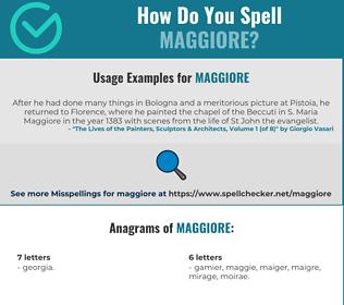 Correct spelling for Maggiore