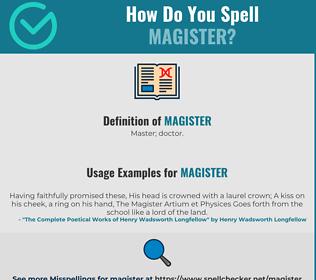Correct spelling for Magister