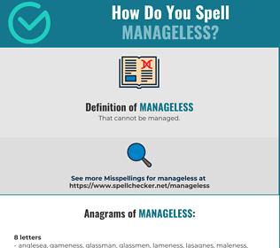 Correct spelling for Manageless