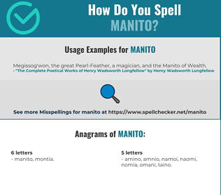 Correct spelling for Manito
