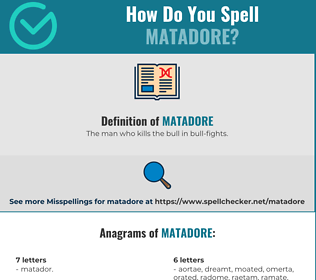 Correct spelling for Matadore