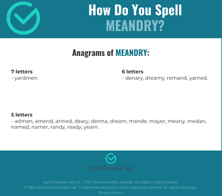 Correct spelling for Meandry