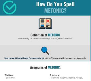 Correct spelling for Metonic