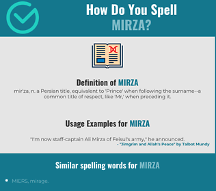 Correct spelling for Mirza