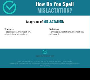 Correct spelling for Mislactation