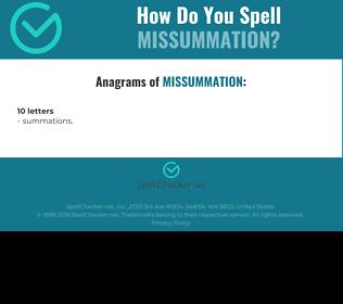 Correct spelling for Missummation