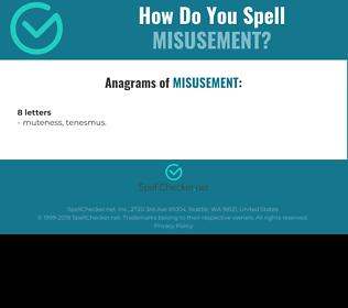 Correct spelling for Misusement