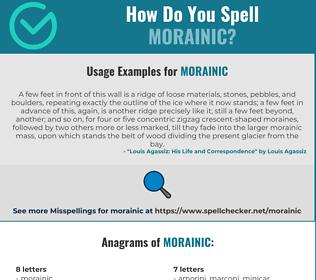 Correct spelling for Morainic