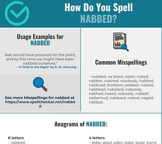 Correct spelling for Nabbed