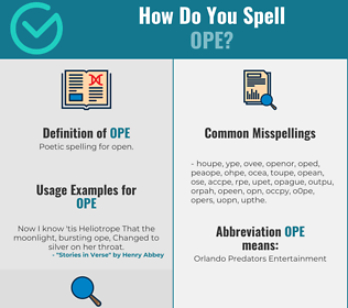 Correct spelling for Ope