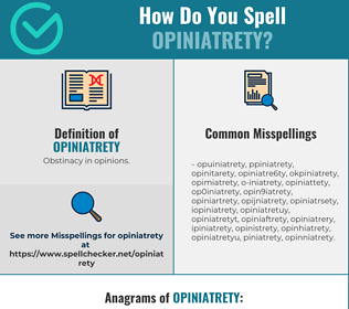 Correct spelling for Opiniatrety
