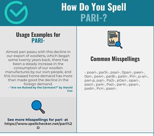 Correct spelling for Pari-
